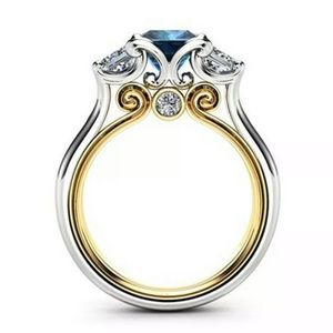Two Tone Gold Sterling Silver Sapphire Stone Ring